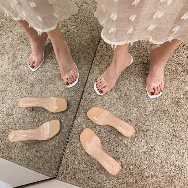 一字拖女夏季外穿涼拖透明粗跟高跟鞋【慢客生活】