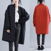 大尺碼外套 大碼棉服200斤寬松秋冬胖mm菱形格長款棉衣外套