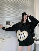 VK精品服飾 韓國風設計感愛心網紗花邊寬鬆圓領長袖上衣