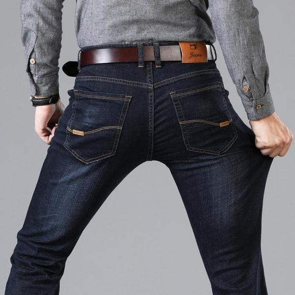 牛仔褲 夏季彈力褲子牛仔褲男修身商務寬鬆直筒大碼休閒青年長褲男士薄款【快速出貨八折搶購】
