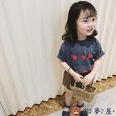 女童短袖T恤印花童裝上衣兒童可愛短袖夏裝【淘夢屋】