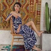 度假女王2018夏女裝波西米亞沙灘裙荷葉領雪紡連身裙開叉性感長裙  良品鋪子