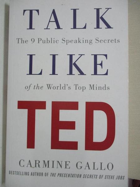 【書寶二手書T1/溝通_BBW】Talk Like TED_Carmine Gallo