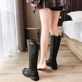 長靴 扣子網紅靴子秋款不過膝馬丁靴女冬加絨長靴高筒靴女士長筒靴