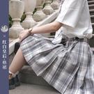 百褶裙日系学生半身裙格裙学院风JK格裙白皇后貴族灰格裙 korea時尚記