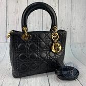 BRAND楓月 Christian Dior 迪奧 黑色小羊皮LADY DIOR 5X5 舊版 2way 手提包 黛妃包