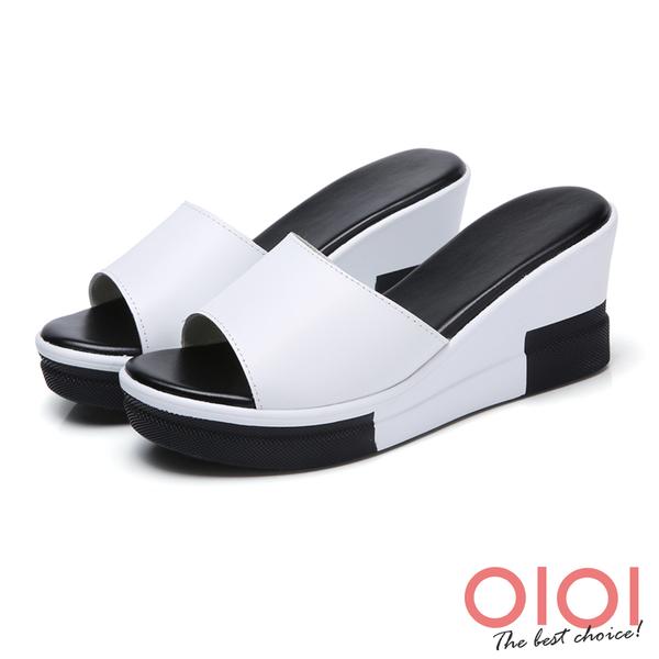楔型涼拖 簡約一字寬版真皮厚底楔型涼拖鞋(白)*0101shoes【18-998w】【現貨】
