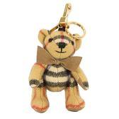 BURBERRY THOMAS Vintage格紋喀什米爾泰迪熊墜飾鑰匙圈(復古黃)