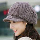 帽子 帽子女秋冬季八角帽針織毛線帽冬天保暖時尚貝雷帽正韓百搭兔毛帽 年終尾牙