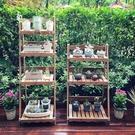 歐式簡約多層實木花架 創意落地式木制花架多肉室內陽臺客廳辦公室 快速出貨