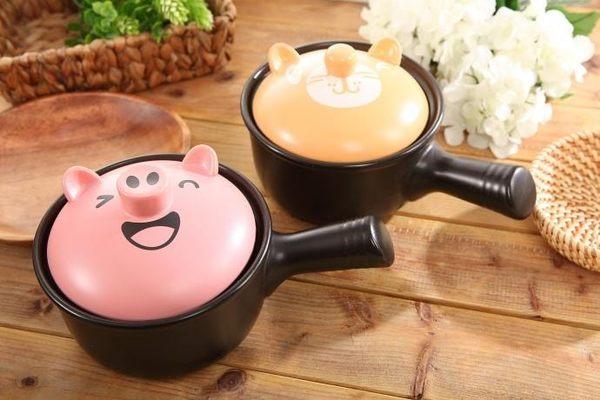 MIT卡通聚熱陶瓷砂鍋單把泡麵鍋小火鍋1.2L