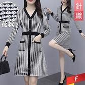 V領排釦針織口袋洋裝 F【584485W】【現+預】-流行前線-