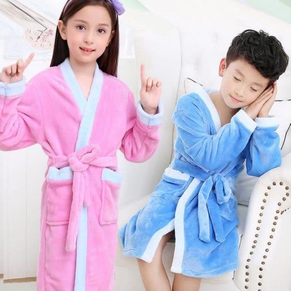 現貨 兒童浴袍 睡袍珊瑚絨法蘭絨秋冬季浴袍寶寶睡衣睡袍 602-778