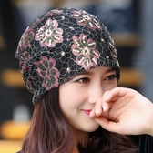 月子帽夏季薄款產婦帽春秋透氣時尚套頭化療帽子蕾絲堆堆包頭帽女   LannaS