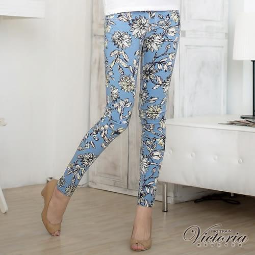 Victoria 低腰印花窄直筒褲-女-淺藍