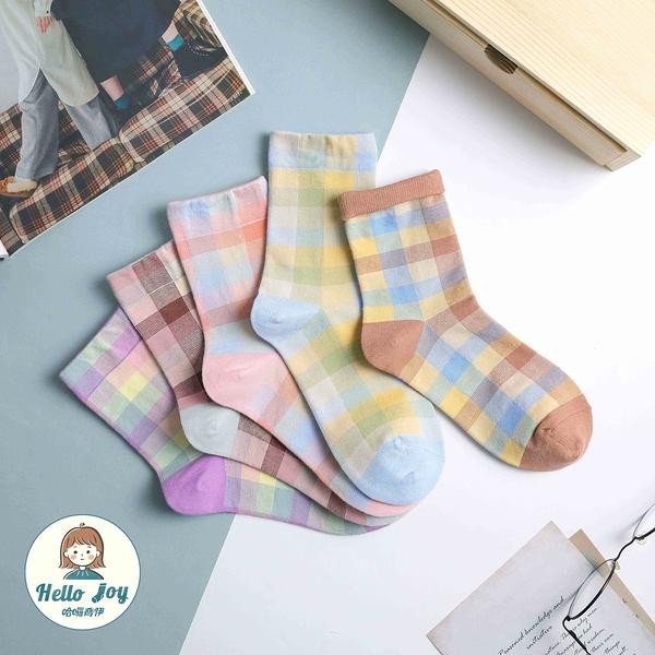 【正韓直送】韓國襪子 小反摺淺色格紋中筒襪 長襪 韓妞必備 條紋 棉襪 哈囉喬伊A108