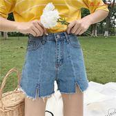 春女裝韓版個性開叉毛邊牛仔褲短褲