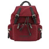 【BURBERRY】The Rucksack 標誌印花尼龍中型軍旅背包(酒紅色) 8011620 A2172