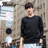 『潮段班』【HJ003138】秋冬新款韓版素面素色長袖圓領T恤上衣