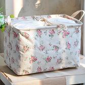 棉麻束口布藝收納箱儲物箱折疊箱整理箱衣服收納盒大號可洗yi【販衣小築】
