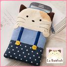手機袋~Le Baobab日系貓咪包 啵啵貓穿點點吊帶褲手機袋/拼布包包
