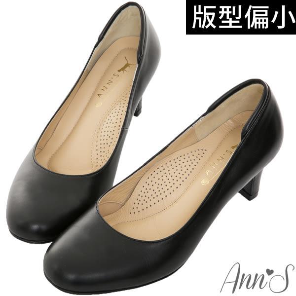 Ann'S空姐美腿款全真羊皮中跟包鞋-黑