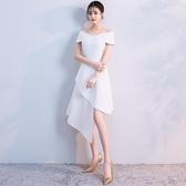 一字肩晚禮服裙女2019新款端莊大氣名媛白色洋裝派對小禮服短款夏Mandyc