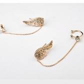耳環 玫瑰金 925純銀鑲鑽-天使之翼生日情人節禮物女飾品2色73gs3【時尚巴黎】
