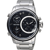 RHYTHM日本麗聲 三地時區石英手錶-黑x銀/47mm I1502S02