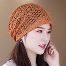 帽子女夏季鏤空無襯透氣頭巾帽裝飾包頭遮白發帽堆堆帽網眼空調帽