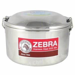 ZEBRA斑馬牌雙層圓形便當盒14cm附菜盆雙扣環省力好蓋