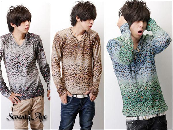柒零年代【N7134J】韓系街頭單品漸層刷色彩色豹紋V領長袖上衣(SH1207)