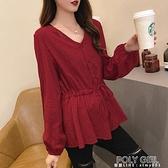 長袖襯衣女2021年秋季新款大碼寬鬆收腰洋氣上衣系帶V領棉麻襯衫 夏季狂歡
