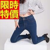 女牛仔褲加絨保暖-微彈力伸縮修身顯瘦女長褲子63e22[巴黎精品]