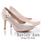 ★零碼出清★Keeley Ann甜美新娘花飾閃鑽真皮軟墊高跟鞋(粉紅色)