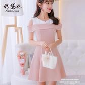 彩黛妃2020春夏新款大碼韓版短袖百搭連身裙女時尚顯瘦拼接打底裙 萊俐亞