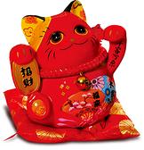 【金石工坊】千客萬來招財紅貓(高17CM)紅色招財貓 開店送禮 開業禮品 風水開運擺飾 撲滿存錢筒