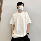 短袖夏季港風潮流純棉純色純白百搭寬鬆疊穿小領口短袖T恤男情