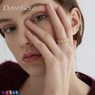 戒指女 金色花朵開口戒指女小眾設計冷淡風食指戒網紅輕奢時尚個性飾品新品