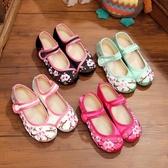 降價兩天 老北京布鞋女童內增高民族風舞蹈演出鞋古典兒童中國風繡花鞋坡跟