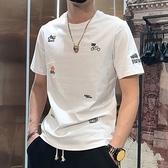 男士短袖 短袖T恤男夏季新款摩托車刺繡個性繡花圖案體恤韓版修身半袖t