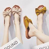 平底拖鞋拖鞋女夏網紅新款韓版百搭潮蝴蝶結平底時尚孕婦外穿軟底涼拖 可然精品