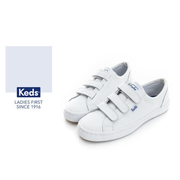 Keds 時尚運動系列START 魔鬼氈 皮質休閒鞋 - 白 73W132211