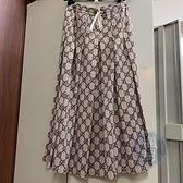BRAND楓月 GUCCI 古馳 咖啡色/淺棕色 經典GG紋百褶長裙 鬆緊帶可彈性調整 裙子 百褶裙 服飾 服裝