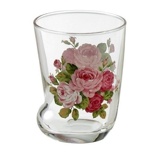 日本【紀念玫瑰 Anniversary Rose】貓腳玻璃杯