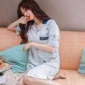 八八折促銷-連身式睡衣2018短袖睡裙女夏季棉質正韓清新中長版連身裙子正韓風夏短袖