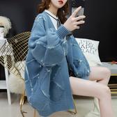 針織外套 網紅毛衣外套女中長款加厚寬鬆很仙的針織開衫慵懶風秋裝2020新款