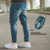 縮口褲 油漆噴點微刷色束口九分牛仔褲【N9874J】