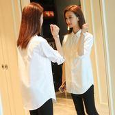 長袖襯衫白襯衫女長袖加絨刷毛新品秋裝全館免運純棉寬鬆正韓上衣中長版打底襯衫寸