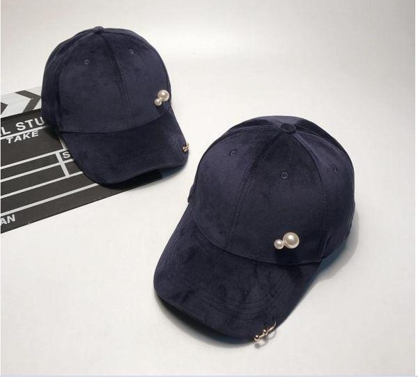 韓版金色鐵環時尚天鵝絨棒球帽休閒百搭青年鴨舌帽